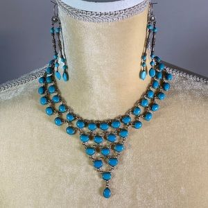 Necklace & Earring Set- Turquoise and Silver